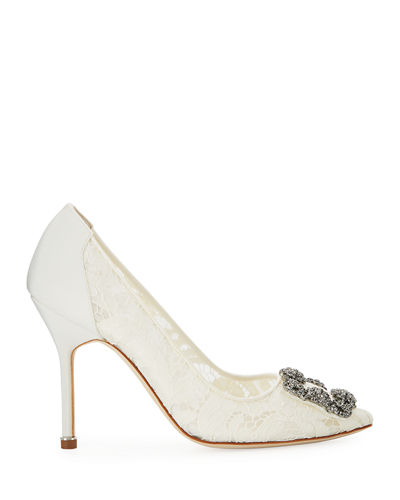 Manolo Blahnik Hangisi Floral Lace Crystal-Toe Pumps