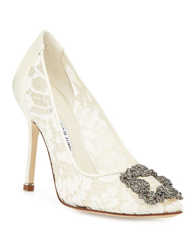 Hangisi Floral Lace Crystal-Toe Pumps