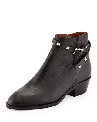 Image 1 of 3: Rockstud Leather 70mm Chunky-Heel Bootie