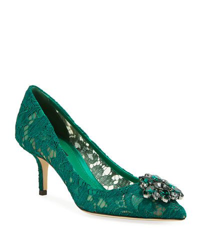 Jewel-Embellished Lace Pump