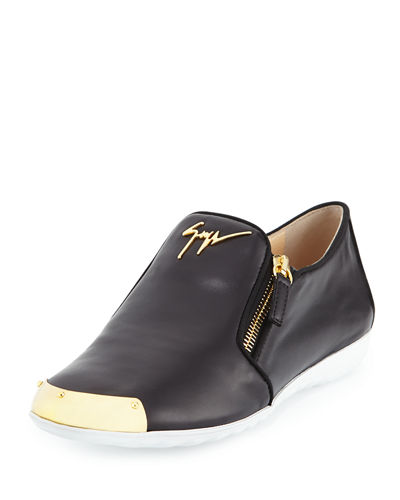Giuseppe Zanotti Leather Logo Smoking Shoe