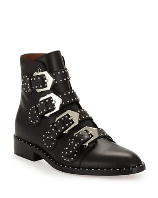 Womens Buckle Roma Ankle Boots Low Heel  Cowboy Shoes Fashion