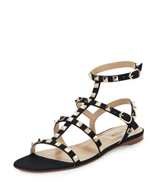 Image 1 of 4: Rockstud Leather Flat Sandal