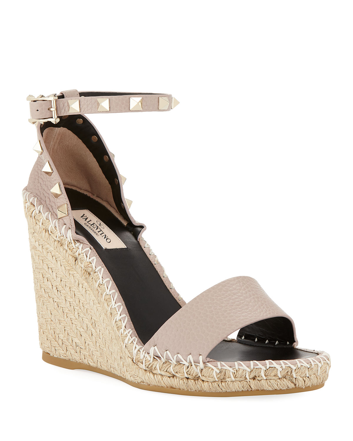 5161cd206f Valentino Garavani Rockstud Double Espadrille Wedge Sandals | Neiman ...