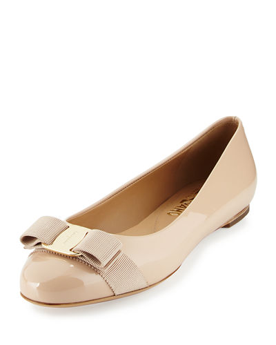 Varina Patent Leather Bow Flat