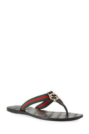 Gucci GG Web Thong Sandals