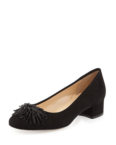 Flynn Beaded Suede Pumps, Black