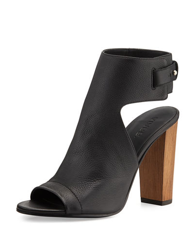Vince Addie Leather Peep-Toe Bootie