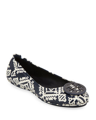Tory Burch Minnie Floral Travel Logo Ballerina Flat