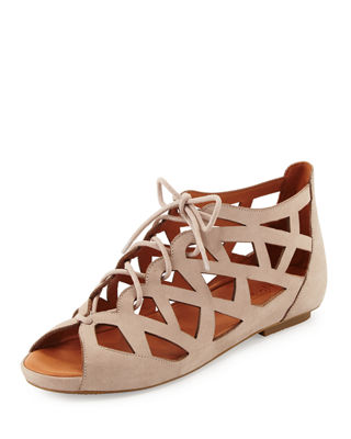 Gentle Souls Brielle Lace-Up Cutout Sandal, Mushroom