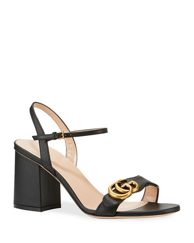 Gucci Leather GG Block-Heel Sandals