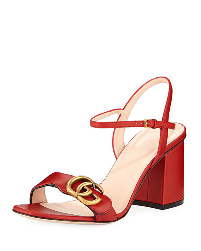 4ed1e299eb0 Quick Look. Gucci · Leather GG Block-Heel Sandals. Available in Black
