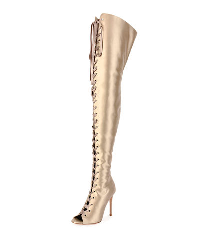 Marie Satin Lace-Up 105mm Over-the-Knee Boot