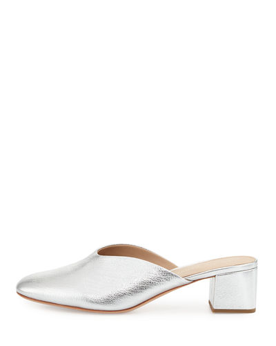 Lulu Leather Block-Heel Mule Slide