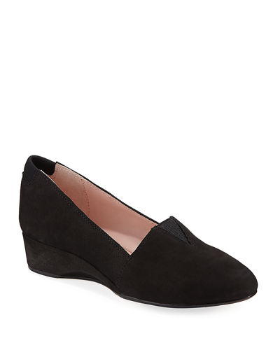 Taryn Rose Suede Low-Wedge Slip-On Pump