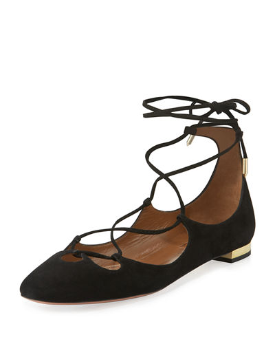 Dancer Suede Lace-Up Flat