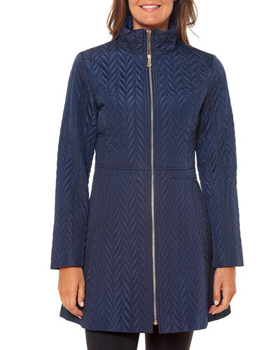 fit-and-flare quilted zip jacket