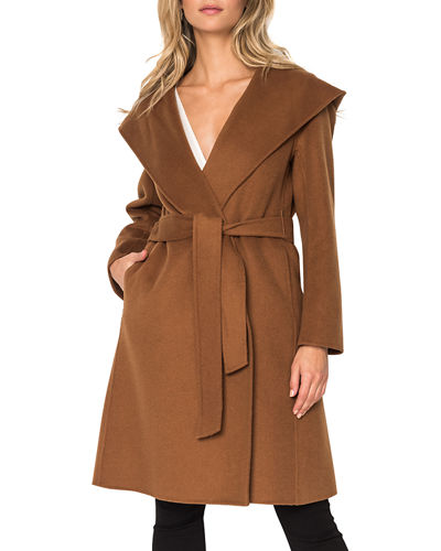 Hooded Wool Long Coat w/ Belt