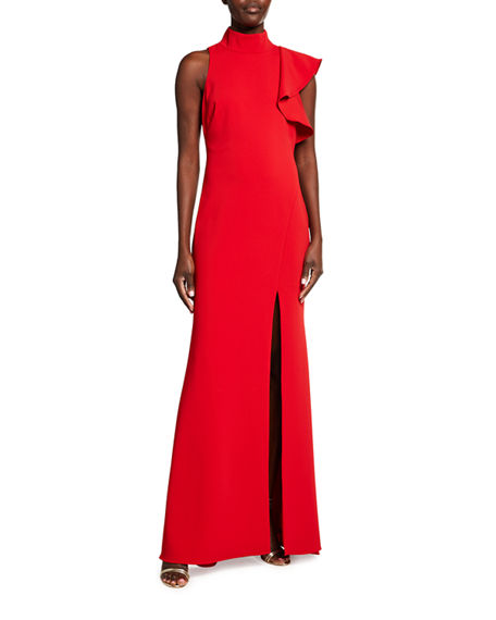 Badgley Mischka Collection Mock-Neck Sleeveless Asymmetric Ruffle Crepe Gown