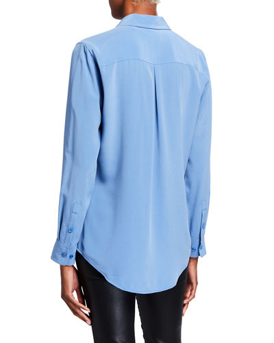 Equipment Essential Solid Button-Down Silk Shirt