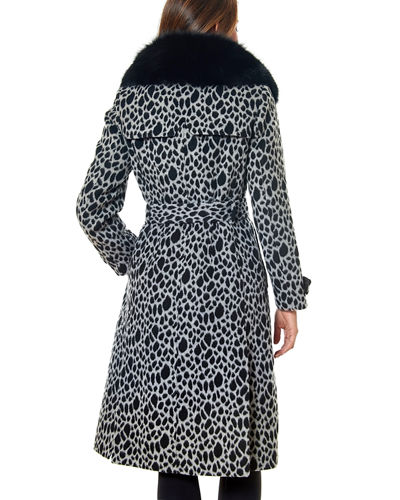 One Madison Fox Fur-Collar Animal-Print Trench