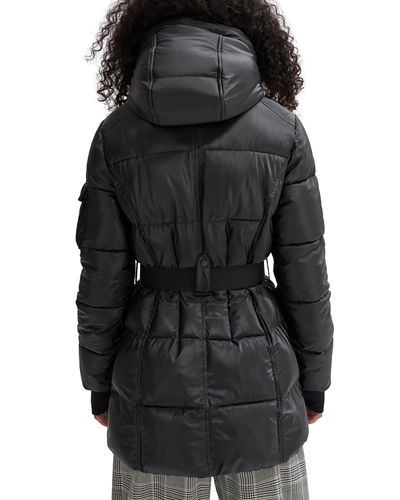 NOIZE Removable-Hood Belted Puffer Coat