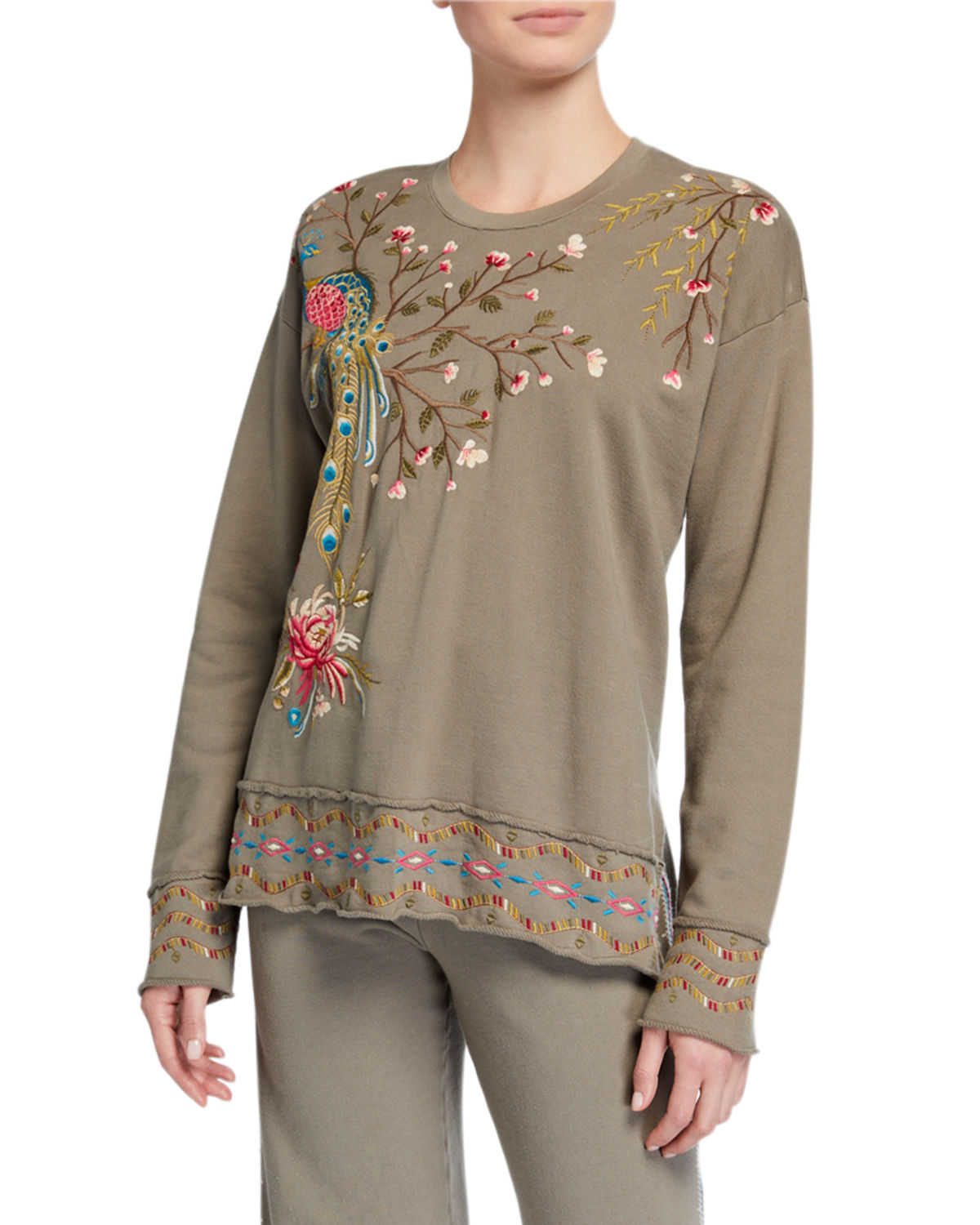 Johnny Was Kaira Embroidered High-Low Pullover Sweatshirt