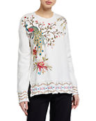 Johnny Was Kaira Embroidered High-Low Pullover Sweatshirt and