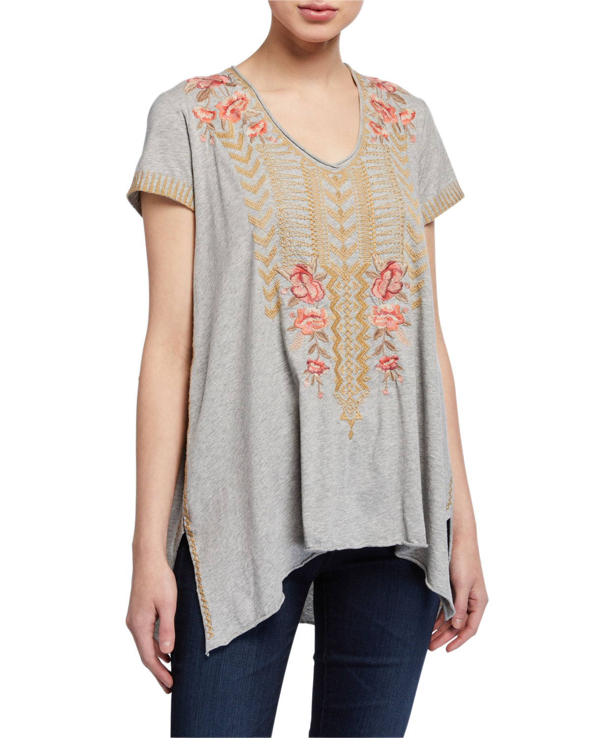 Johnny Was RIANNE EMBROIDERED KNIT DRAPE TOP