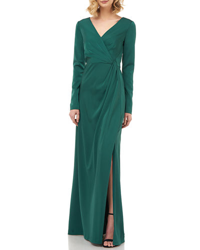 Adelina V-Neck Long-Sleeve Stretch Faille Gown w/ Side Slit