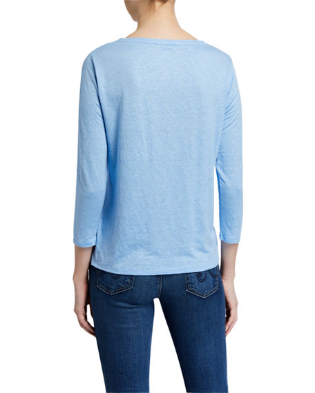 Image 2 of 2: Majestic Filatures Stretch Linen Boat-Neck 3/4-Sleeve Tee
