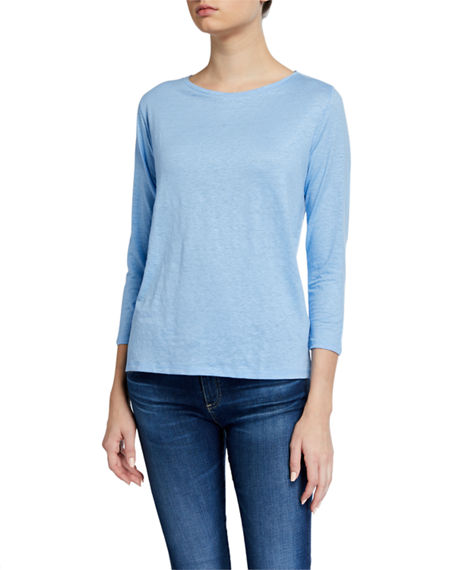Image 1 of 2: Majestic Filatures Stretch Linen Boat-Neck 3/4-Sleeve Tee