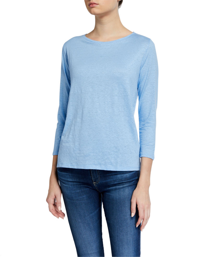 Majestic Filatures Stretch Linen Boat-Neck 3/4-Sleeve Tee