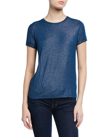 Majestic Filatures Stretch Metallic Pleated-Back Crewneck Tee