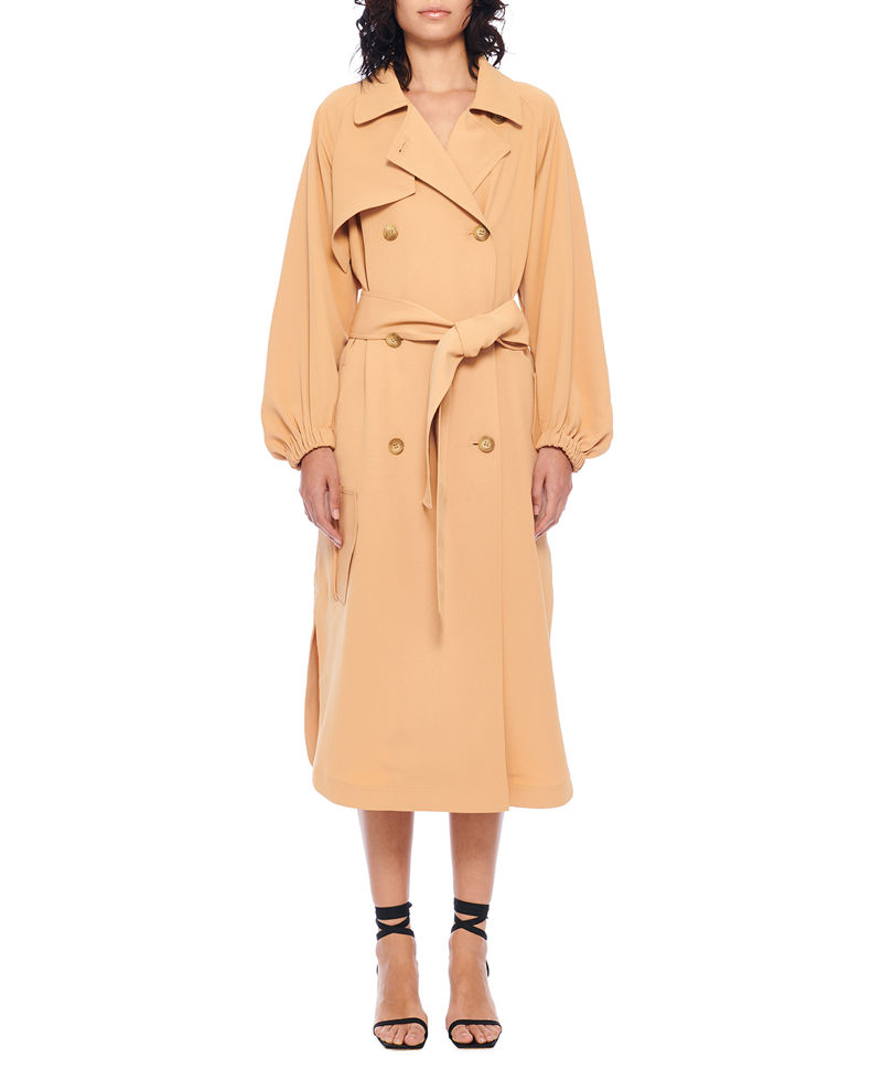 Tibi Draped Twill Trench Dress