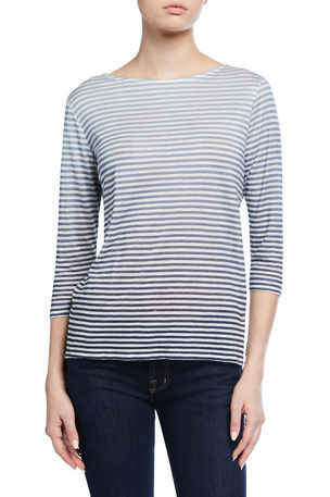 Majestic Filatures Striped Boat-Neck 3/4-Sleeve Linen Tee