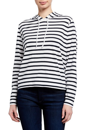 Majestic Filatures Silk Touch Striped Long-Sleeve Pullover Hoodie Jacket