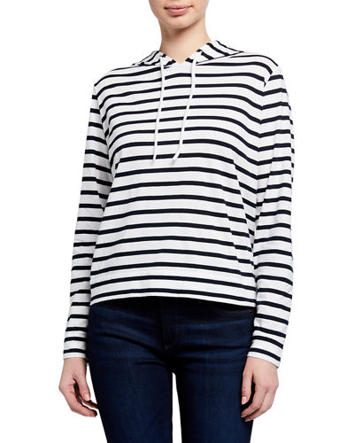 Silk Touch Striped Long-Sleeve Pullover Hoodie Jacket