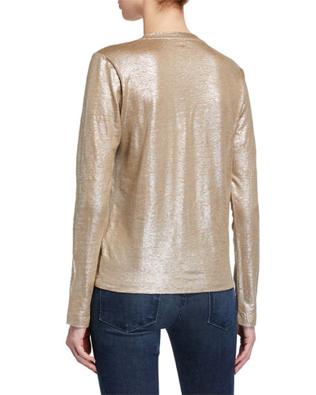 Image 4 of 4: Majestic Filatures Metallic Button-Front Linen Cardigan