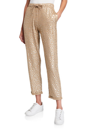 Majestic Filatures Metallic Leopard Pull-On Stretch Linen Pants