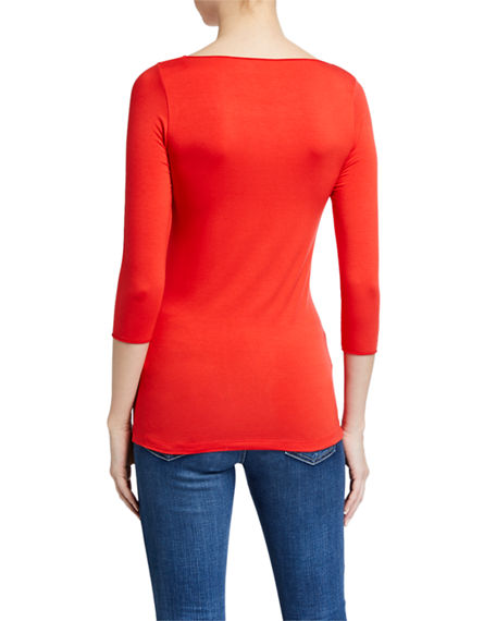 Image 3 of 3: Majestic Filatures Soft Touch Marrow-Edge 3/4-Sleeve Boat-Neck Tee