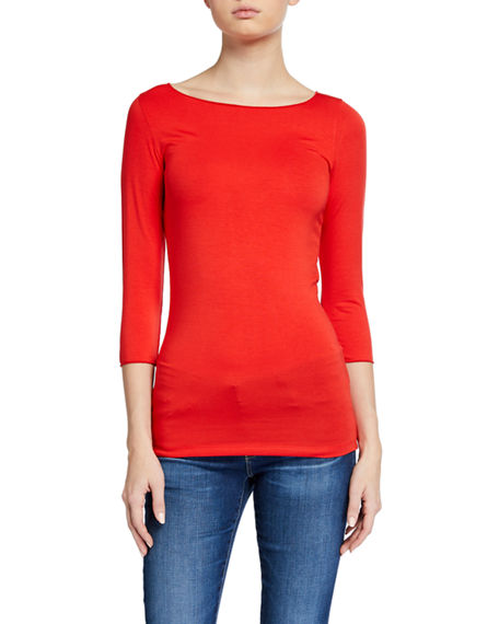 Image 1 of 3: Majestic Filatures Soft Touch Marrow-Edge 3/4-Sleeve Boat-Neck Tee