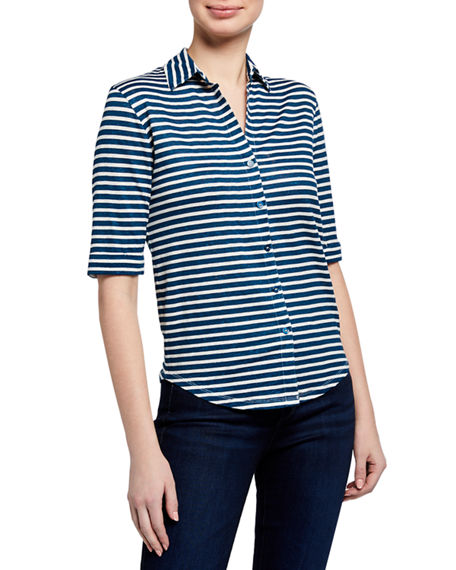 Image 2 of 3: Majestic Filatures Striped Elbow-Sleeve Button-Front Top