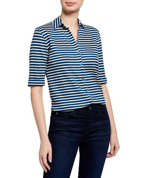 Image 1 of 3: Majestic Filatures Striped Elbow-Sleeve Button-Front Top