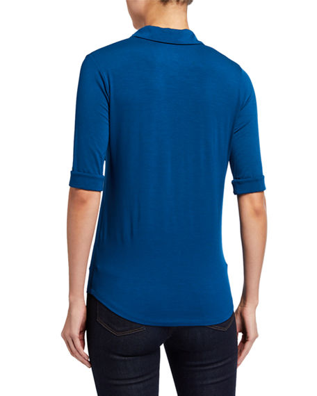 Image 3 of 5: Majestic Filatures Soft Touch 3/4-Sleeve Button-Down Tee