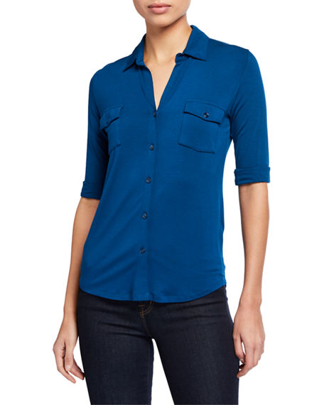 Image 1 of 5: Majestic Filatures Soft Touch 3/4-Sleeve Button-Down Tee