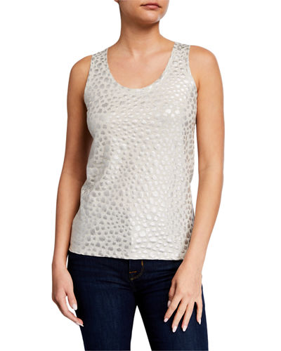 Metallic Leopard Scoop-Neck Stretch-Linen Tank