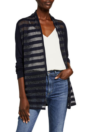 Neiman Marcus Cashmere Collection Superfine Metallic Striped Long-Sleeve Open Cardigan