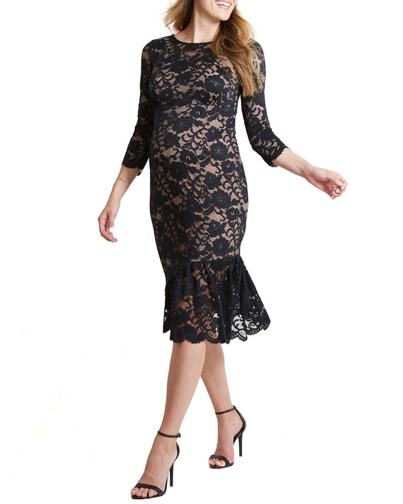 Ingrid & Isabel Maternity Stretch Lace 3/4-Sleeve Flounce Hem Dress