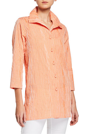 Caroline Rose Plus Size Button-Front Crinkled Gingham Shirt with Ruched Collar